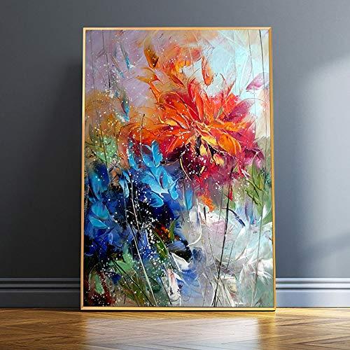 wZUN Acuarela Abstracta Flor de Naranja Azul Pintura al óleo Cartel Imagen Arte de la Pared sobre Lienzo 60x90 Sin Marco