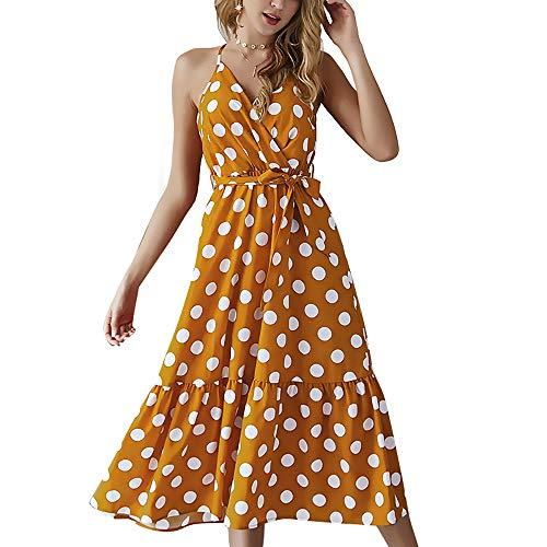 StarLifey Vestido de Verano con cinturón de Espagueti con Cuello en V y Cuello Lunares de Mujer