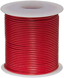 Remington Industries 16PTFESTRRED25 16 AWG Gauge Stranded Hook Up Wire, 25 feet Length, Red, 0.0508 Diameter, PTFE, 600 Volts