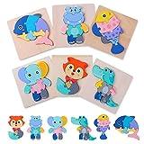 Ulikey 6 Piezas Puzzles de Madera Juguetes para Bebes, Montessori Educativos Rompecabezas Animales Juegos para 1 2 3 4 5 Año Niñas y Niños, Infantile Regalo de Cumpleaños Preescolar de Aprendizaje