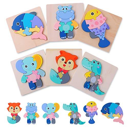 Ulikey 6 Stück 3D Kinder Holzpuzzle Steckpuzzle Montessori Spielzeug Tierpuzzle Lernspielzeug Pädagogisches Baby Holzspielzeug Geschenk Geburtstag für kleine Jungen Mädchen (Tier)