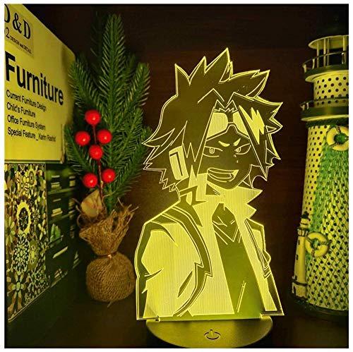 GEZHF Lámpara LED Boku No Hero Academia Denki Kaminari Anime luces nocturnas My Hero Academia luz 3D para del hogar-16 colores con control remoto