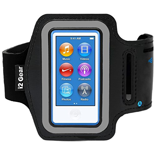 i2 Gear Adjustable Armband Compatible with iPod Nano 8th and 7th Generation Devices (Black)