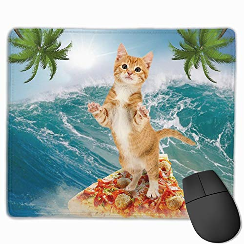 Mouse Pad Anti-Slip Mousepad Cat Surfing on Pizza Ocean Palm Tree Gaming Mouse Mat Pads with Stitched Edge Cute Funny Personalized Novel for Working Game Office Study PC Computers