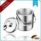 SilverRack Eiswürfelbehälter aus Edelstahl mit Zange u. Deckel - Eisbehälter