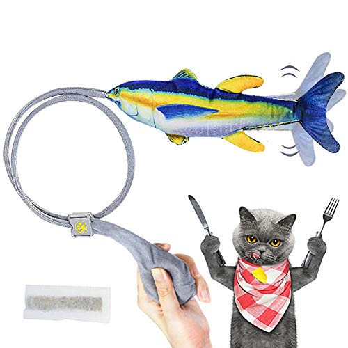 AnCoSoo Katzenspielzeug Fische Katzenspielzeugh, Katzenminze Fischspielzeug, interaktives Katzenspielzeug, realistische bewegte Fischkatze Spielzeug Haustiere Kissen Kauen Spielen, Kick, Kauen