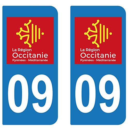 SupStick 2 STICKERS AUTOCOLLANT PLAQUE IMMATRICULATION DEPARTEMENT 09 Ariège REGION OCCITANIE