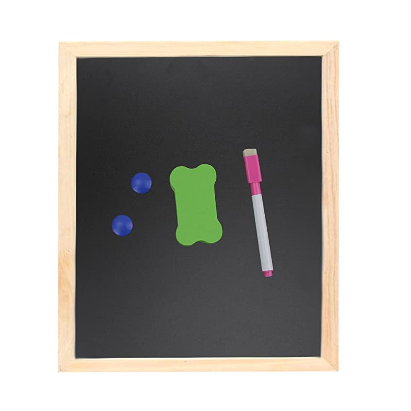 チャット地図対立黒板 ブラックボード ホワイトボード マグネット 両面使用可能 掲示板 ボード 小型 看板 卓上 壁掛け 磁石2個 板消し セット 会議室 オフィス 家庭用 店舗用 白板ボード 木フレーム ミニ 30cm×40cm