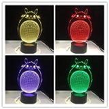 Veilleuse illusion 3D pour enfants 16 couleurs avec télécommande LED Lampe de table Totoro