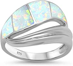 Oxford Diamond Co Sterling Silver Lab Created Blue Opal Wave Ring Sizes 6-8 Choose Your Color!