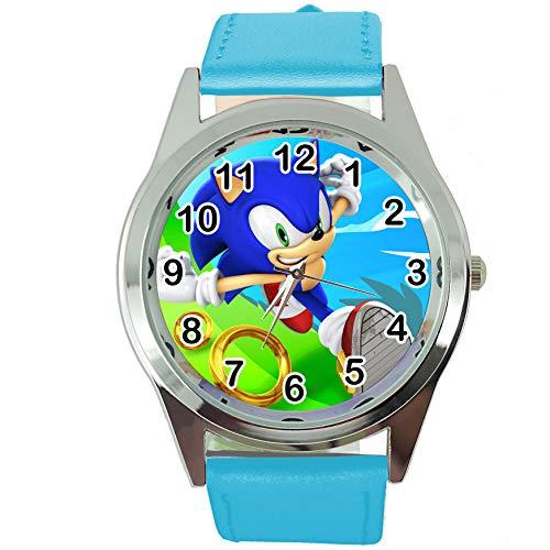 Taport® Quarzuhr blau Lederband rund für Sonic The Hedgehog Fans E3