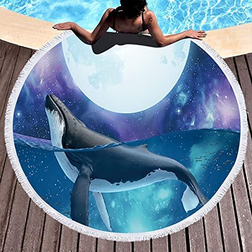 RZHIXR Toalla De Playa Redonda De Microfibra De La Serie Ocean, Impresión Digital 3D De Ballena Delfín, Alfombra De Playa A Prueba De Arena, Toalla De Baño con Mantón 150 * 150cm