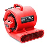 CFM PRO Air Mover Carpet Floor Dryer 3 Speed 1/3 HP Blower Fan with 2 GFCI Outlets - Stackable - Industrial Water Flood Damage Restoration (Red)