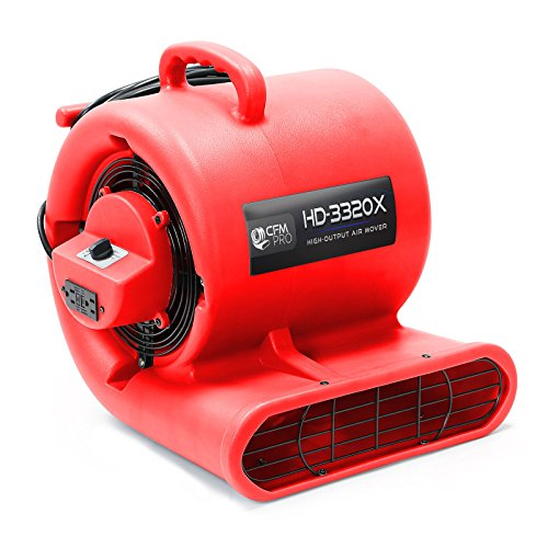 CFM Pro Air Mover Carpet Floor Dryer 3 Speed 1/3 HP Blower Fan with 2 GFCI Outlets - Stackable - Red - Industrial Water Flood Damage Restoration