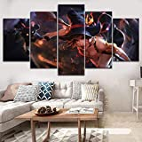 WYJIE 5 Piezas League of Legends Nidalee Poste Modern Canvas Printing Type Style Home Decorativo Wall Artwork Modular PicturesFramed30x40cm30x60cm30x80cm