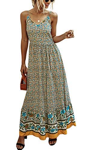 Spec4Y Kleider Damen Lang Sommer Blumen Sommerkleider V-Ausschnitt Ärmellos Maxikleider Elegant Partykleid Strandkleider 2007 Aprikose Large