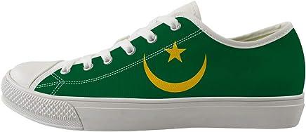 Owaheson Bajo Parte Superior Lona Casuales De Skate Zapatos Zapatillas De Deporte Hombre Mujer Bandera Mauritania
