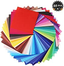 8 inch x 8 inch Single Sided Square Origami Paper,50 Colors,200 Sheets