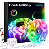 LED Strips Lights 5m, RGB 5050 LEDs Colour Changing Kit with 24key Remote Control and Power Supply, Mood Lighting Led Strips for Bedroom Home Kitchen Christmas Indoor Decoration