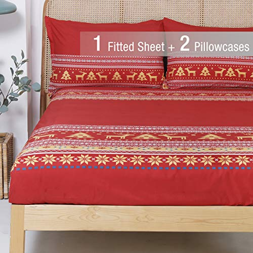 YEPINS Soft Microfiber Fitted Sheet for Christmas Holidays, Reindeer and Snowflake Pattern Design, Red Stripe- Queen Size
