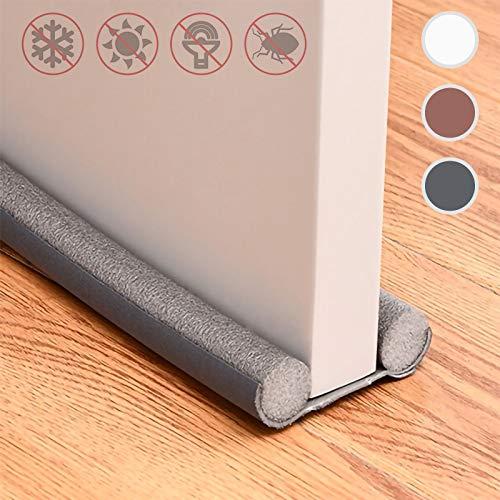 Draft Door Stopper 37 Inches,Twin Door Draft Stopper,Energy Saving Under Door Draft Stopper Door Weather Stripping Noise Blocker Window Breeze Blocker Adjustable Door Sweeps,Thicker Door Draft,Gray