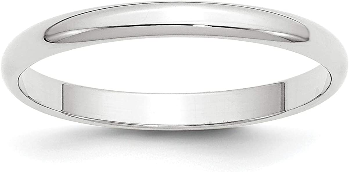 Solid 10k White Gold 2.5 mm Rounded Wedding Band Ring