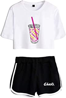 Flyself Girs The Hype House Crop Top T-Shirt Shorts Set Charli D'Amelio Printed Tracksuits Casual Summer Sports Wear Track...