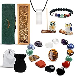 vuUUuv Healing Crystals & Chakra Stones Set ,for Meditation, Chakra Balance ,Reiki or Ritual - Selenite with Cleaning Healing Energy