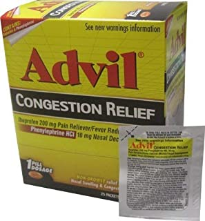 Advil Congestion Relief, 25 Packets ( Pouches) of 1 Coated Tablets
