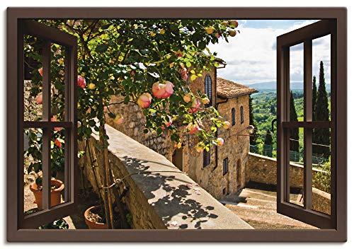 Artland Leinwandbild Wandbild Bild auf Leinwand 100x70 cm Wanddeko Fensterblick Fenster Toskana Landschaft Garten Rosen Balkon Natur T5QB
