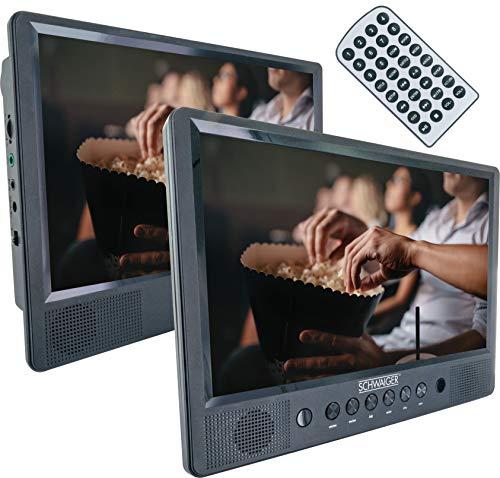 SCHWAIGER -716474 - Reproductor portátil de DVD/CD|10 pulgadas de pantalla|1 mando a distancia|SD/USB|con soporte|con kit de montaje en el coche