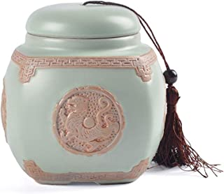 Jueven Cremation Urn Medium Ceramic Funeral Urn for Human and Pet Ashes (Color : B)