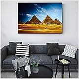 Cuadros de pared de pirámides egipcias pinturas de arte de pared de paisaje africano realista impresiones de lienzo de pirámides egipcias para sala de estar