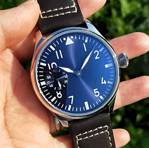 Relojes Reloj Mecánico De Cuerda Manual para Hombre, Esfera Azul, Cristal Mineral/Zafiro, Movimiento De Gaviota, Cristal Mineral