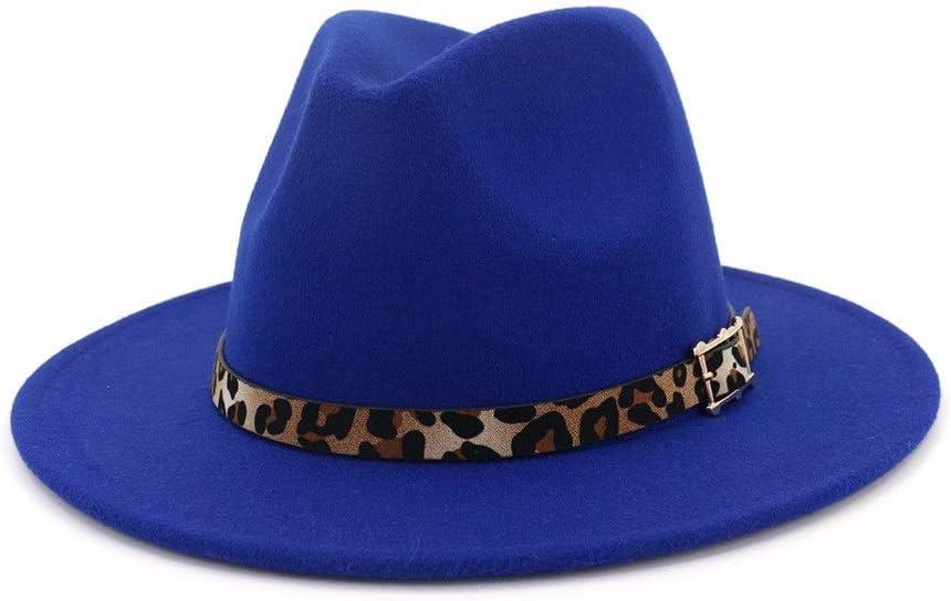 no-branded Unisex Autumn Winter Jazz Cotton Fedora Hat Leopard Print Leather Belt Panama Formal Hat Elegant ZRZZUS (Color : E Blue, Size : 59-60cm)