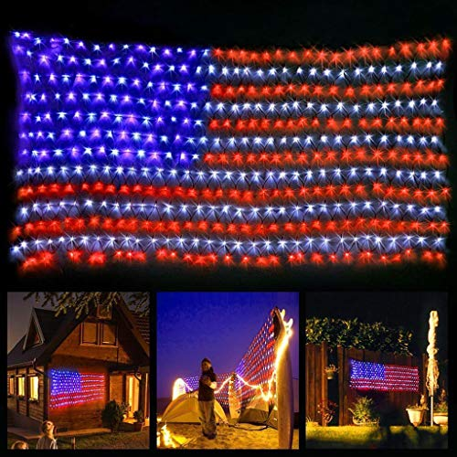 Skryo Led Flag Net Lights der Vereinigten Staaten, wasserdichte amerikanische Flagge String Light für Weihnachten, Unabhängigkeitstag, Memorial Day, Dekoration, Garten, Hof, Innen und Außen