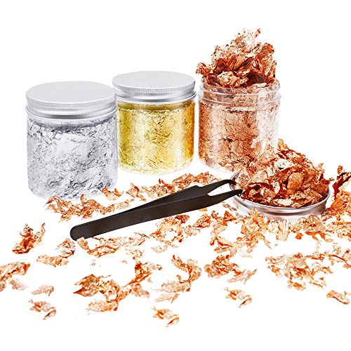 SITAKE 3 Botellas de Hoja de Oro con 1 Pieza Pinza, 10g / Botella, Escamas de Lámina Metálica Dorada, Escamas de Dorado de Hoja Metálica para Uñas, Limo y Fabricación de Joyas (30 Gramos)