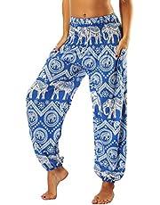 Nuofengkudu Damskie spodnie hipisowskie, pumpy, haremki, boho, wzorzyste, talia, z kieszeniami, spodnie na czas wolny, letnie spodnie do jogi