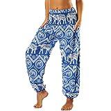 Nuofengkudu Mujer Pantalones Hippies Tailandeses Estampado Verano Cintura Alta Elastica con Bolsillos para Yoga Casual Azul Elefante