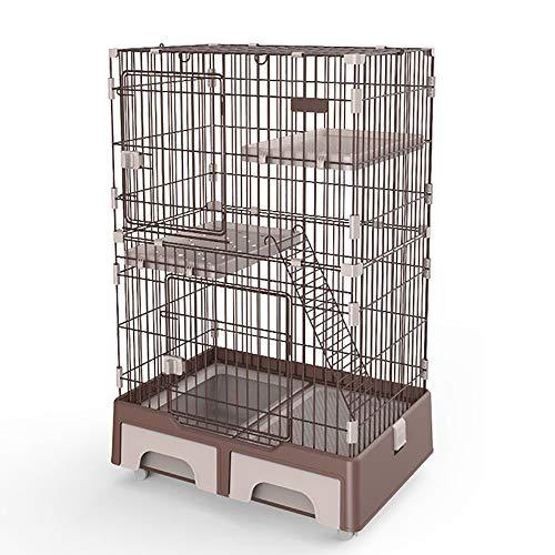 JW-YZWJ Caja Grande De Gato, Metal 3-Nivel Pet Villa CASA CASA DE Caja Cerca con Hamaca Y Caja De Arena De Gato Y Escalada De Escalada Y Plataforma De Descanso,A
