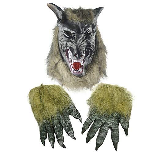 TTCXDP Halloween Masker, Horror Devil Masquerade Props Wolf Hoofd Masker Wolf Klauw Handschoenen Rolspelen Volwassen Mannen En Vrouwen Pak