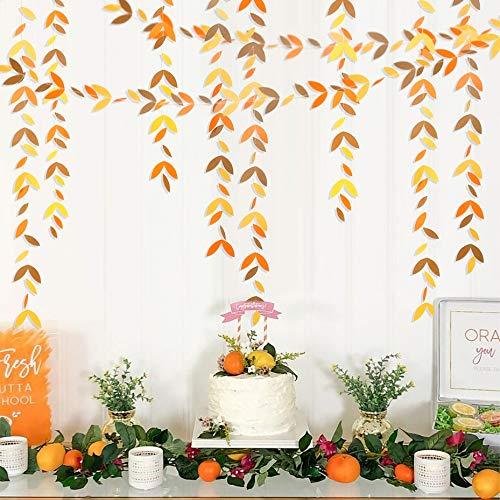 Pink Blume 52 Ft Fall Leaves Garland - Decoración para fiestas de Navidad, hojas de papel, guirnalda de serpentinas, hojas amarillas para Halloween, agradecimiento, decoración para fiestas