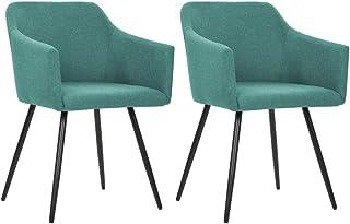 vidaXL 2X Sillas de Comedor Asiento Mobiliario Muebles de Salón Sala de Estar Cocina Hogar Escritorio Suave Cómodo Respaldo Tela Verde