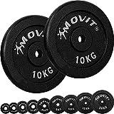 Movit® Hantelscheiben Set PRO, 100% Gusseisen, 30/31 mm Bohrung, Gewichtsscheiben Set Gewichte Hantel 2X 10,0kg