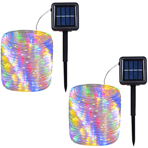 Outdoor Solar LED Rope Lights, String Lights with Clear PVC Jacket 100 LED Indoor/Outdoor Lights 8 Modes Copper Wire Fairy Lights for Wedding Christmas Party 2-Pack (Multicolor)