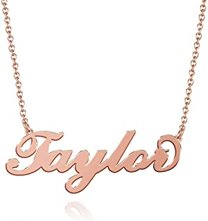 Taylor Name Necklaces Pendant Stainless Steel Rose Gold Custom Necklace Personalized Nameplate Gifts for Women, Men, Mom, Girls, Boys, Kids, Him, Her