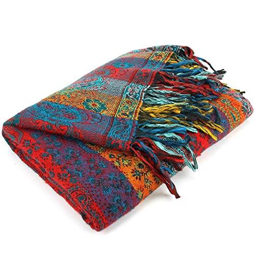 Toosha Jaal Acryl Wolle Schal Decke - Paisley Streifen - Orange & Grün, One Size