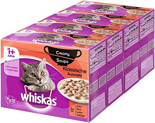 Whiskas 1 + Creamy Soups Katzenfutter – Klassische Auswahl – Hochwertiges Nassfutter für gesundes Fell – 48 Portionsbeutel à 85g
