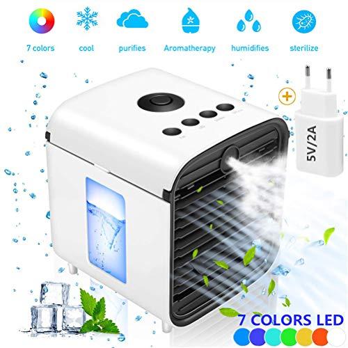 Nifogo Air Mini Cooler, Aire Acondicionado Portátil, Climatizador Evaporativo, 4 en 1 Mini Ventilador Humidificador Purificador de Aire con 7 Colores Luces