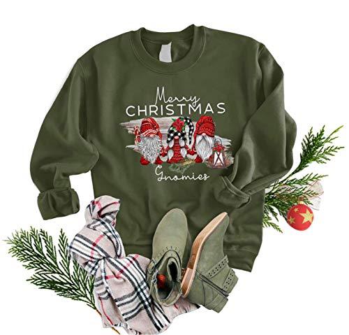Merry Christmas Gnomies Sweatshirt Casual Cute Leopard Plaid Xmas Gnomes Santa Graphic Letter Print Tops Holiday Pullover Tees(M, Green)